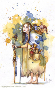 The Doll Collector, watercolours. All rights reserved.